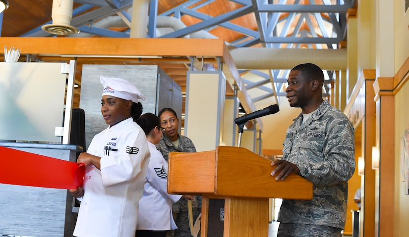 Colonel Terrence Adams, 628th Air Base Wing commander, gives the welcoming remarks during a ribbon-cutting ceremony to mark the reopening of the Gaylor Dining Facility Feb. 1, 2019, at Joint Base Charleston, S.C.