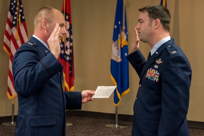 Col. Robert I. Kinney, 188th Wing commander, administers the oath of office to Col. Jeremiah S. Gentry, 188th Operations Group commander, during Gentry's promotion ceremony at Ebbing Air National Guard Base, Fort Smith, Ark., Feb. 2, 2019. Gentry has been a 188th Wing member since 2011 and was instrumental in the establishment of its MQ-9 remotely piloted aircraft mission. (U.S. Air National Guard photo by Tech. Sgt. Daniel Condit)