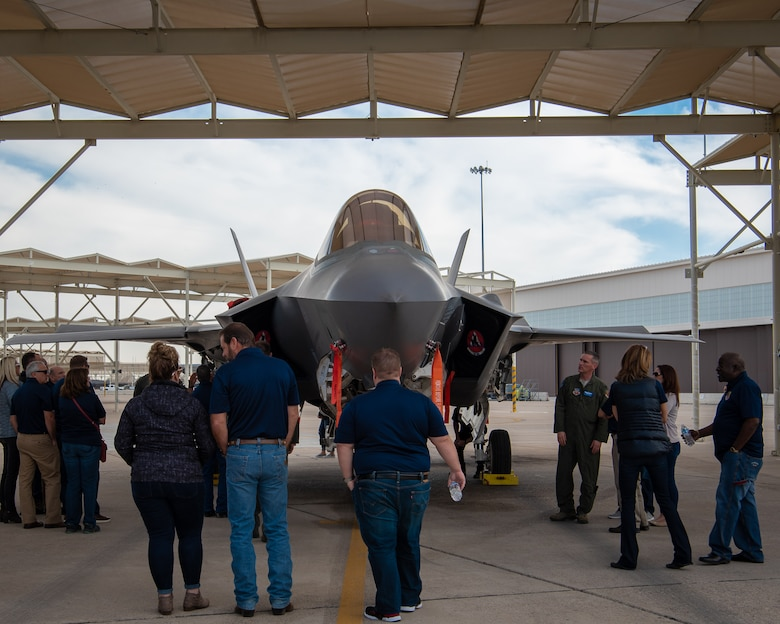 Civic Leaders from Mountain Home Air Force Base, Idaho, receive a tour of the flightline and learn about an F-35A Lightning II, Jan. 31, 2019 at Luke Air Force Base, Ariz.