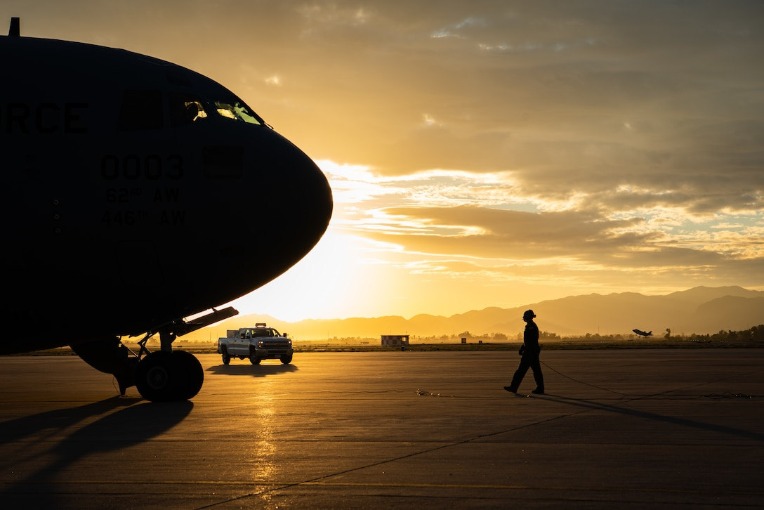A C-17 Globemaster III pilot conducts a final pre-flight check before take-off, Jan. 31, 2019 at Luke Air Force Base, Ariz.