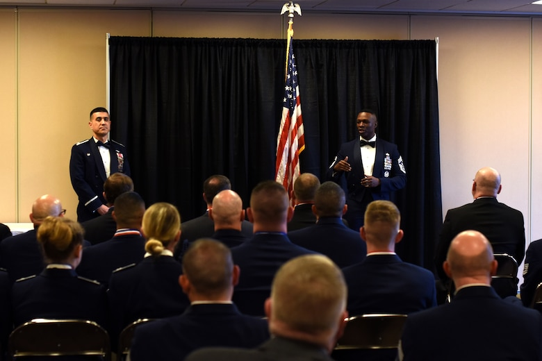 U.S. Air Force Chief Master Sgt. Lavor Kirkpatrick, 17th Training Wing command chief, speaks to the nominees of the Annual Awards at the McNeese Convention Center in San Angelo, Texas, Feb. 1, 2019. The ceremony provided a chance for family and friends to come out and celebrate those who were nominated and those who won. (U.S. Air Force photo by Airman 1st Class Zachary Chapman/Released)