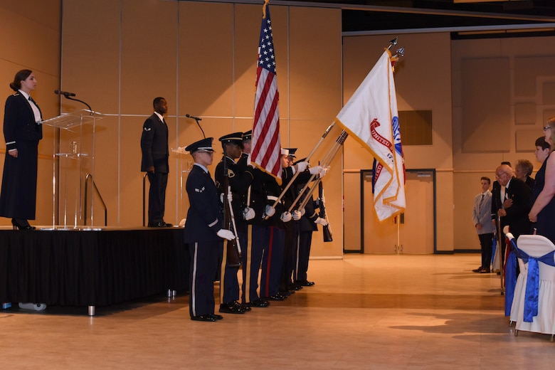 Joint Service Color Guard presents arms before the Annual Awards ceremony at the McNeese Convention Center in San Angelo, Texas, Feb. 1, 2019. Members from Goodfellow were invited to bring their families and friends to enjoy a night of celebration dedicated to those who stand out amongst their peers. (U.S. Air Force photo by Airman 1st Class Zachary Chapman/Released)