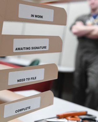 A shelf is labeled with organizational stickers in preparation for tax season at Ellsworth Air Force Base, S.D., Feb. 1, 2019. The tax center is open to help base members, retirees and military families with their 2018 tax forms for free. (U.S. Air Force photo by Airmen 1st Class Thomas Karol)