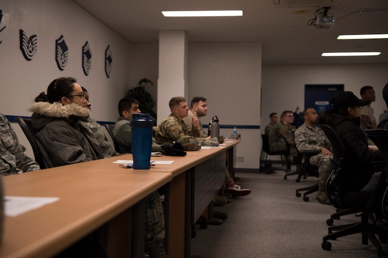 Airmen listening during a WWU class