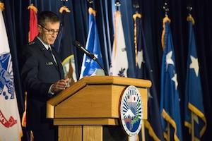 U.S. Air Force Lt. Gen. Kevin B. Schneider, commander of U.S. Forces Japan, delivers his remarks as the incoming United States Forces Japan and 5th Air Force commander during a change of command ceremony, at Yokota Air Base, Japan, Feb. 5, 2019. Schneider previously served as the chief of staff, U.S. Indo-Pacific Command. (U.S. Air Force photo by Senior Airman Donald Hudson)
