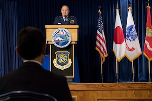 U.S. Air Force Lt. Gen Jerry P. Martinez, outgoing commander for both United States Forces Japan and 5th Air Force, gives remarks during the change of command ceremony at Yokota Air Base, Japan, Feb. 5, 2019. During the ceremony, U.S. Air Force Lt. Gen. Kevin B. Schneider assumed command of USFJ and 5th AF from Martinez. (U.S. Air Force photo by Senior Airman Donald Hudson)