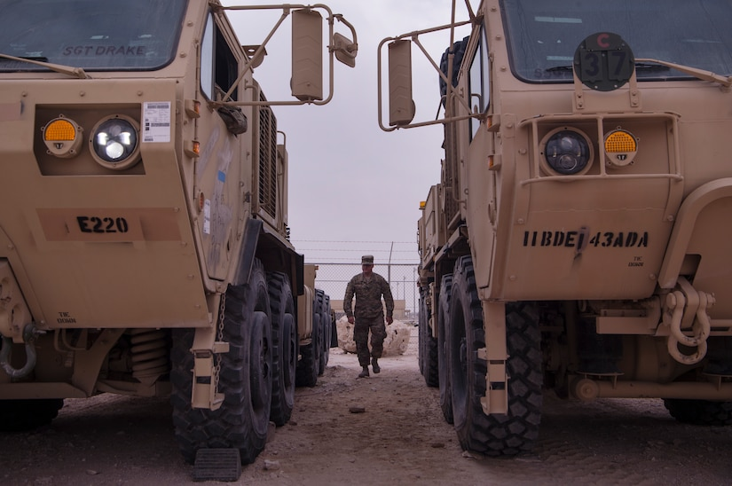 U.S. Army Spc. Brent Fleming, Echo Company, 1st Battalion, 43rd Air Defense Artillery (ADA) Battalion, 11th ADA Brigade allied trade specialist, assists in conducting operations checks on military vehicles Jan. 29, 2019, at Al Udeid Air Base, Qatar. Soldiers of Echo Company perform mechanical work and repairs for various equipment and assets that support Al Udeid's air defense capabilities, including surface-to-air missile systems. (U.S. Air Force photo by Tech. Sgt. Christopher Hubenthal)