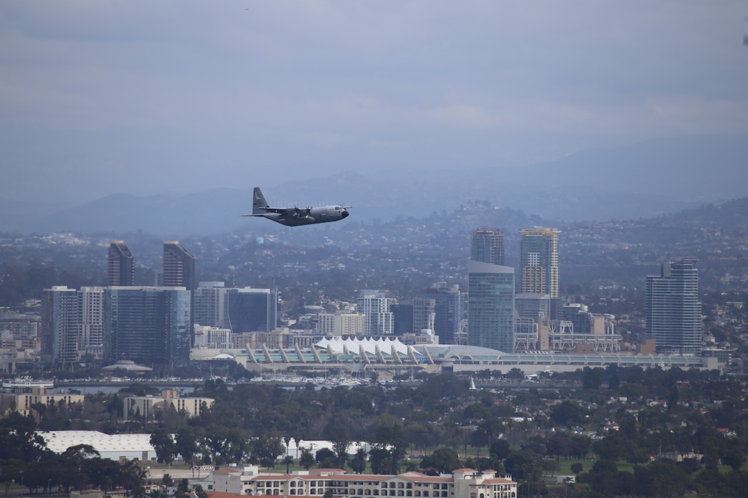 A 53rd Weather Reconnaissance Squadron WC-130J aircraft taking off out of Naval Air Station North Island, San Diego, California for an 8.5 hour mission for one of the missions into an Atmospheric River Feb. 1, 2019.  The Atmospheric Rivers research missions are flown during the winter season to provide weather data forNational Center for Environmental Protection, who runs the Global Forecast System models and  Scripps Institution of Oceanography. (U.S. Air Force courtesy photo.)