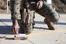 A Marine with Marine Forces Reserve loads a Beretta M9 magazine during the Combat Pistol Program, at Camp Villere, La., Jan. 24, 2019.