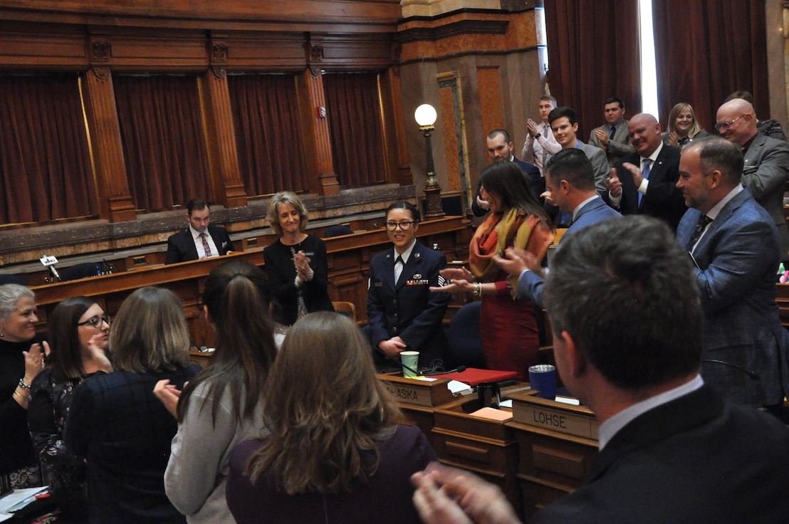 Staff Sgt. Jessica Thomerson, a weaponeer with the 233rd Intelligence Squadron (IS), is recognized by multiple representatives during the Eighty-Eighth General Assembly at the Iowa State Capitol on January 17th, 2019. Thomerson was recognized for her work during the Patriot North exercise at Volk Air Field, Wisconsin. (Iowa National Guard photo by Lt. Col. Timothy Mills)