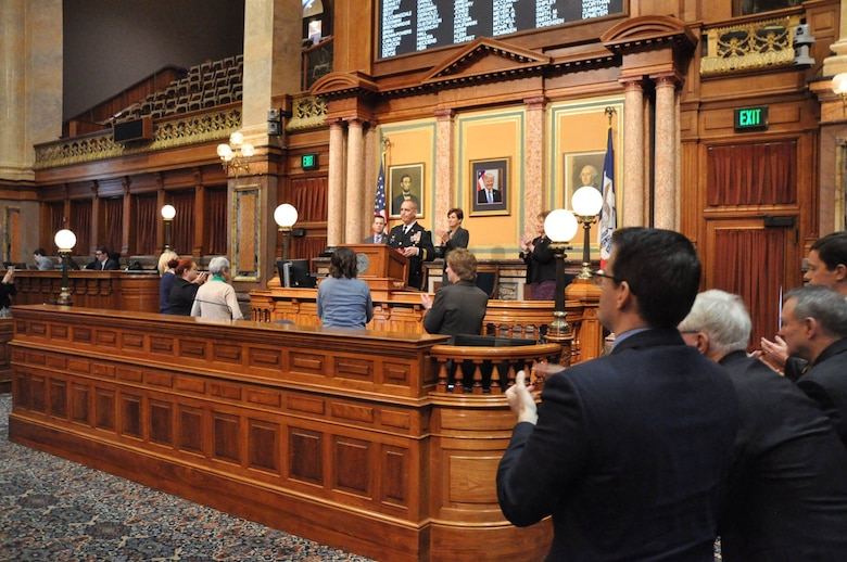 Maj. Gen. Timothy E. Orr, The Adjutant General for the Iowa National Guard, delivers his Condition of the Guard Address to the Eighty-Eighth General Assembly at the Iowa State Capitol on January 17th, 2019. The purpose of this assembly was to inform the representatives on the status of the Iowa National Guard, both Army and Air. (Iowa National Guard photo by Lt. Col. Timothy Mills)