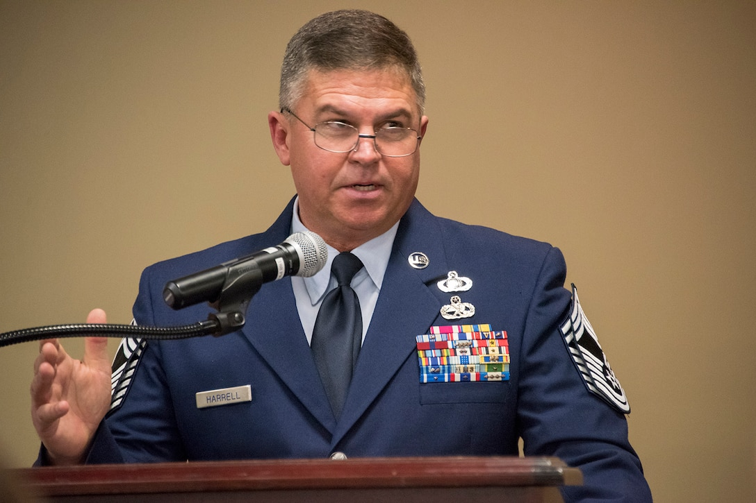 Chief Master Sgt. Nathan E. Harrell, 288th Operations Support Squadron superintendent, addresses Airmen of the 188th Wing during his promotion ceremony at Ebbing Air National Guard Base, Fort Smith, Ark., Feb. 2, 2019. Harrell has over 36 years of military service, and has been a member of the 188th Wing since 1985. (U.S. Air National Guard photo by Staff Sgt. Emmanuel Gutierrez)