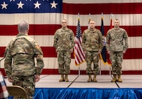 """Command Sgts. Maj. James """"Dusty"""" Jones, Phillip Cantrell, and James Allen took part in change of responsibility ceremonies held Feb. 2, 2019 at the WVNG Joint Forces Headquarters in Charleston."""