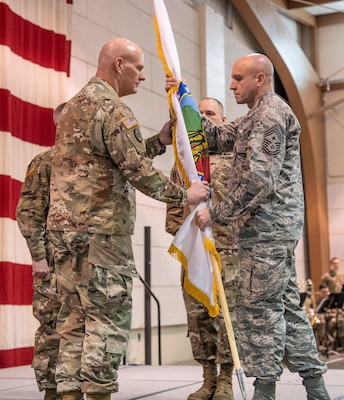 "Command Sgts. Maj. James ""Dusty"" Jones, Phillip Cantrell, and James Allen took part in change of responsibility ceremonies held Feb. 2, 2019 at the WVNG Joint Forces Headquarters in Charleston."