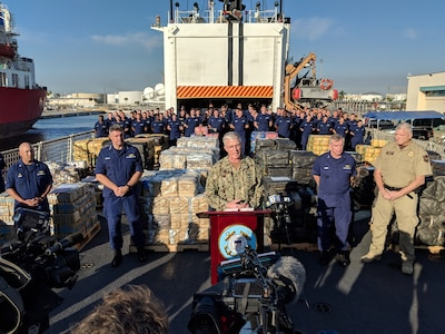 The commander of U.S. Southern Command, Navy Adm. Craig Faller, discusses importance of dismantling criminal organizations that seek to profit form narcotics smuggling during a press conference for the U.S. Coast Guard Cutter Forward offload of more than 34,000 pounds of seized cocaine.
