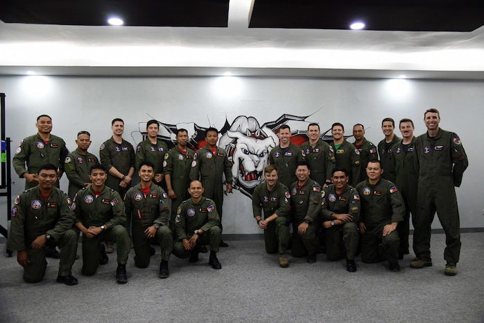 U.S. Air Force F-16 Fighting Falcon pilots pose alongside Philippine Air Force FA-50 pilots during the Bilateral Air Contingent Exchange-Philippines (BACE-P) at Cesar Basa Air Base, Philippines, Feb. 1, 2019.