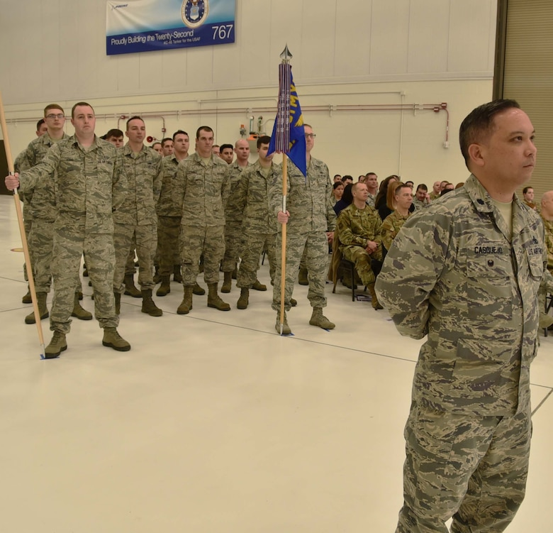 Airmen from the 931st Maintenance Group prepare to give their first salute to Col. Robert Thompson, the incoming commander of the 931 MXG, during an official change of command ceremony, Feb. 3, 2019, McConnell Air Force Base, Kan. Thompson replaced Col. Heath Fowler, as the commander of the group.