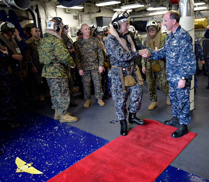 U.S., Japanese Commanders Observe F-35B Operations from USS Wasp
