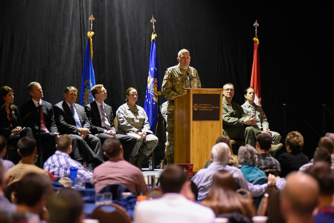 Maj. Gen. Timothy Reisch, Adjutant General for South Dakota, speaks at the 114th Fighter Wing Welcome Home ceremony in Sioux Falls, S.D., Feb. 3, 2019.