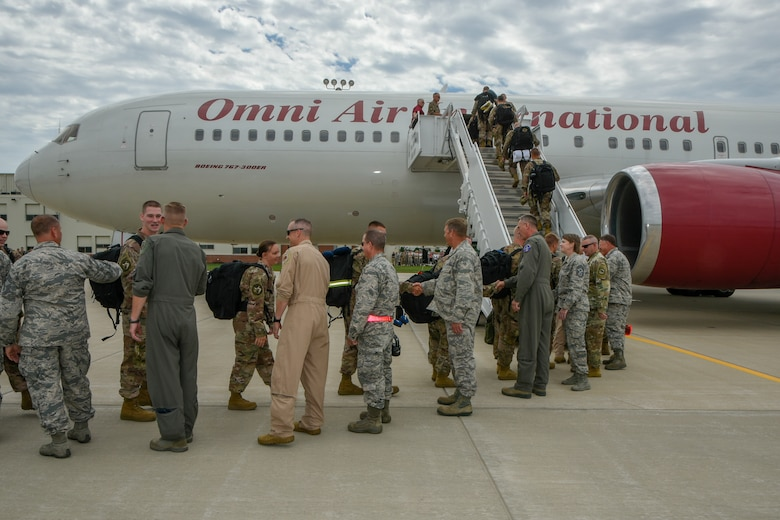South Dakota National Guard leadership individually says their best wishes to the 114th Fighter Wing Airmen departing on a Air Expeditionary Force deployment last July.