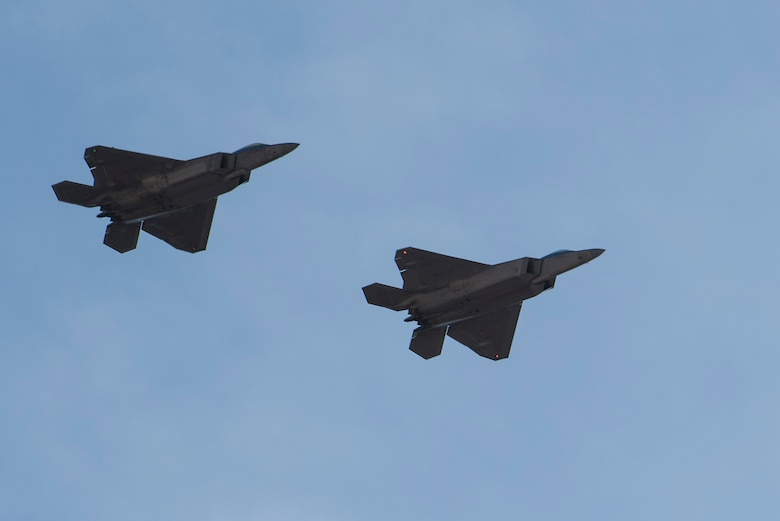 U.S. Air Force F-22 Raptors fly in formation during in-house exercise Patriot Grizzly and joint exercise Winter Fury at Marine Corps Air Station Miramar, San Diego, Calif., Jan. 16, 2019. Both exercises enabled Joint Base Elmendorf-Richardson, Alaska, aircrew and pilots to practice standardized tactics through consistent flying. Winter Fury involved both Marine F/A-18C Hornets, and Navy F-35C Lightning II's, partnering with F-22s to perform air-to-air combat.