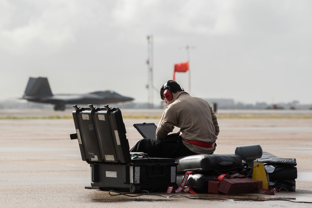 U.S. Air Force Airman 1st Class Angelo Trent, 90th Aircraft Maintenance Unit crewchief, views a portable maintenance aid during in-house exercise Patriot Grizzly at Marine Corps Air Station Miramar, San Diego, Calif., Jan. 18, 2019. Patriot Grizzly involved both active-duty and reserves from Joint Base Elmendorf-Richardson, Alaska, integrating to increase readiness through consistent flying operations.