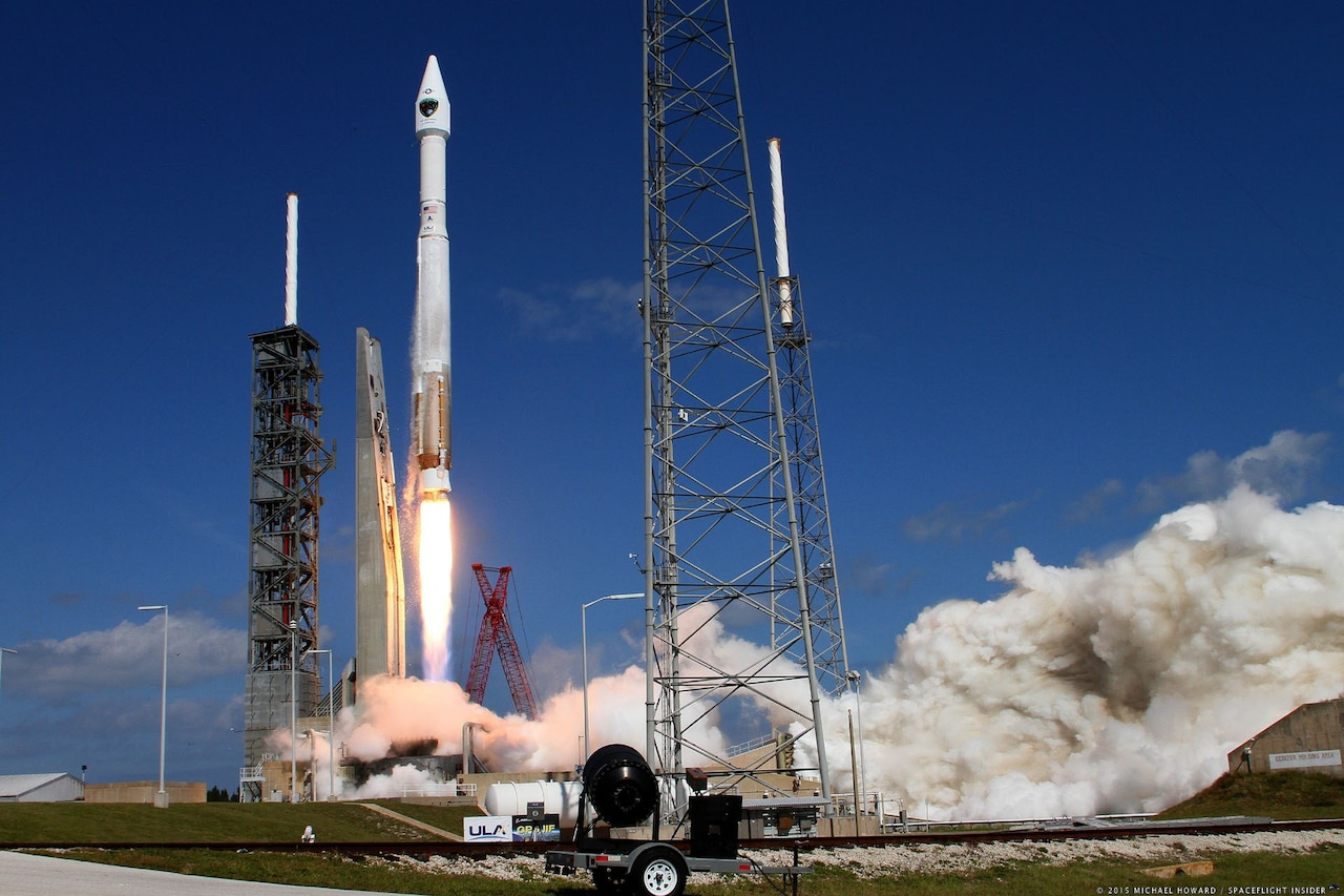 An Atlas V rocket launches.