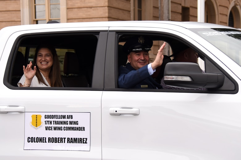 U.S. Air Force Col. Robert Ramirez, 17th Training Wing vice commander, and his wife Jeanette ride in the 87th annual San Angelo Stock Show and Rodeo Parade. Military Appreciation night at the Rodeo will be held on Feb. 13, 2019. (U.S. Air Force photo by Senior Airman Seraiah Hines/Released)