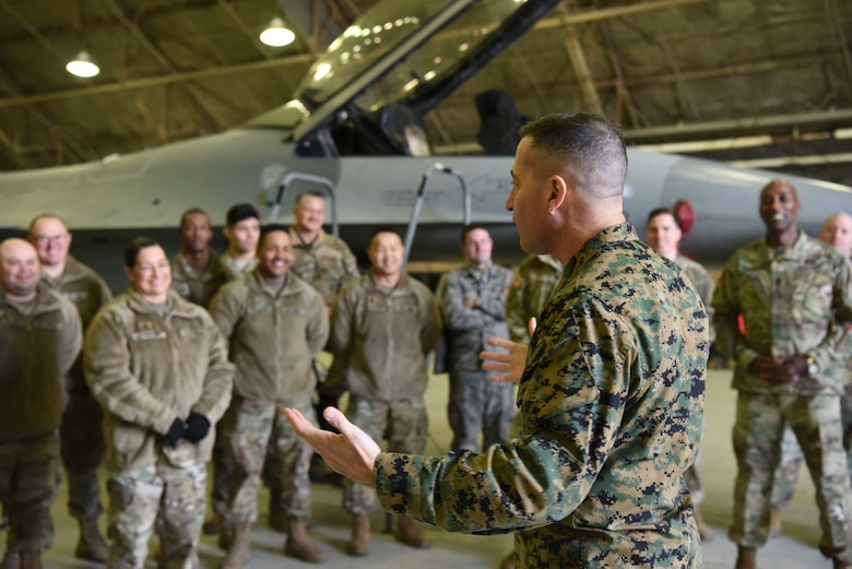 U.S. Marine Corps Sgt. Maj. Anthony Spadaro, U.S. Pacific Command senior enlisted leader, speaks to members of Team Osan at Osan Air Base, Republic of Korea, Jan. 28, 2019. During his visit, Spadaro met enlisted members from various units across the base and was briefed on their contributions to the wing mission. (U.S. Air Force photo by Airman 1st Class Ilyana A. Escalona)