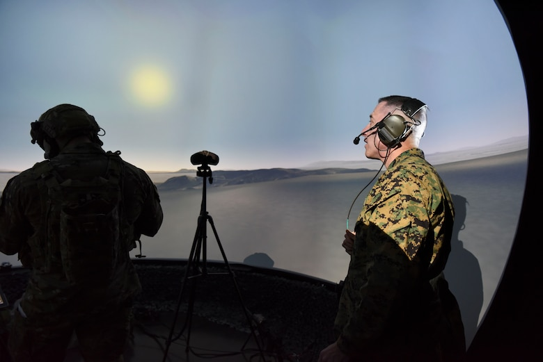 U.S. Marine Corps Sgt. Maj. Anthony Spadaro, U.S. Pacific Command senior enlisted leader, watches a simulation of tactical air control party operational procedures at Osan Air Base, Republic of Korea, Jan. 28, 2019. During his visit to Osan, Spadaro was able to talk with TACP and explosive ordnance disposal team members and tour their training facilities. (U.S. Air Force photo by Airman 1st Class Ilyana A. Escalona)
