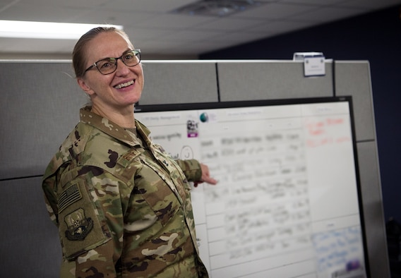 U.S. Air Force Col. Teresa Bisnett, U.S. Air Forces Central Command (AFCENT) Surgeon General (SG) Directorate command surgeon, reviews agile combat support capabilities at Shaw Air Force Base, S.C., Jan. 17, 2019. AFCENT Shaw is made up of several directorates, including the Directorate of Manpower, Personnel and Services,  and the Theater Security Cooperation Directorate, that work together to rectify long-term issues, determine weapons requirements for the area of responsibility, advise and assist leaders, conduct airspace and airfield management, and more. (U.S. Air Force photo by Staff Sgt. Areca T. Bell)