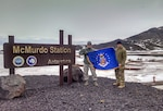 Chief Master Sgt. Troy Erlandson, 114th Fighter Wing occupational safety manager, holds the South Dakota flag with another Airman during his trip to McMurdo Station, Antarctica where he worked directly for Joint Force Antarctica to support the Antarctic research mission. From supporting contingency operations to helping with natural disasters, the 114th Fighter Wing reach is seen and felt across the world.