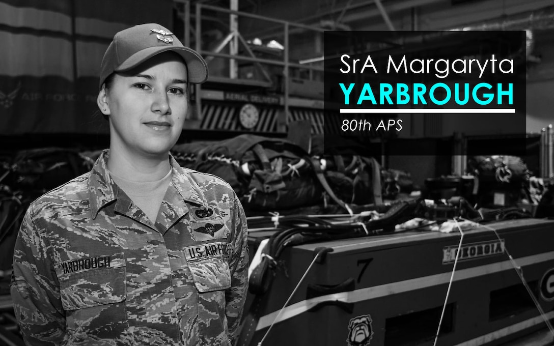 This week's Up Close features Senior Airman Margaryta Yarbrough, an 80th Aerial Port Squadron rigger. Up Close is a series spotlighting individuals around Dobbins Air Reserve Base. (U.S. Air Force graphic/Staff Sgt. Andrew Park)