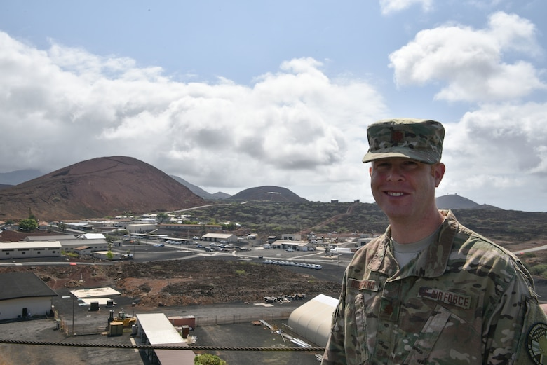 Maj. Robert Bouffard, 45th Mission Support Group, Detachment 2 commander overlooks the base, January 11, 2019 at Ascension Island Auxiliary Airfield. Air Force personnel at Ascension ensure mission success through airfield and launch operations and they also supported the December 23, 2018 launch of the Falcon 9 GPS III launch. (U.S. Air Force photo by Airman 1st Class Dalton Williams)