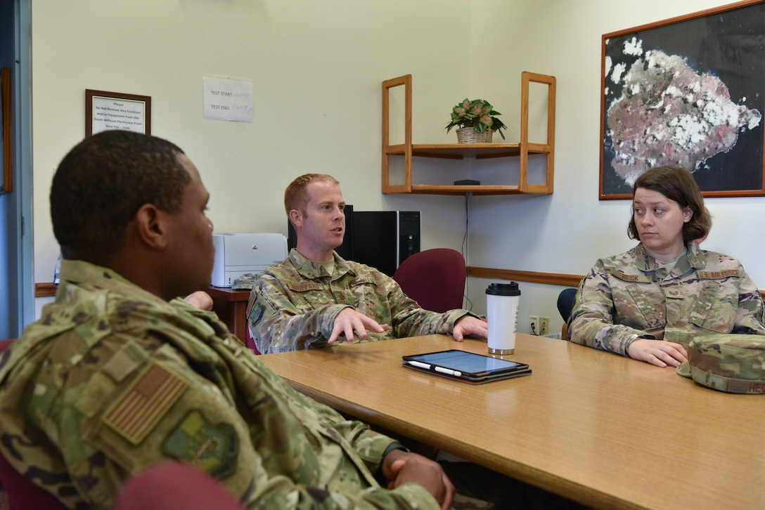 45th Mission Support Group, Detachment 2, holds an meeting, January 14, 2019 at Ascension Island Auxiliary Airfield. Det 2 works with various organizations including the Royal Air Force and Air Force Technical Applications Center. (U.S. Air Force photo by Airman 1st Class Dalton Williams)