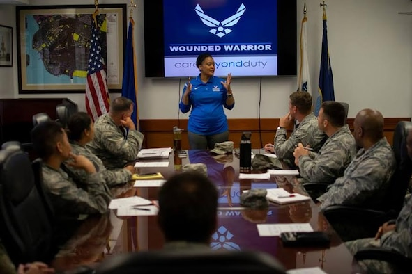 Master Sgt. Dee Parks talks to senior leaders during the 2019 Pacific Air Forces Warrior CARE Event at Joint Base Pearl Harbor-Hickam, Hawaii in early January.