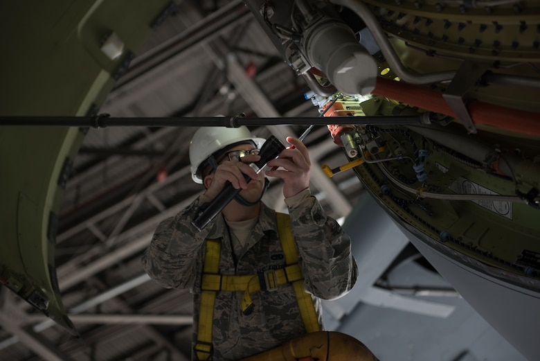 U.S. Air Force Senior Airman Matthew Malich, 60th Aircraft Maintenance Squadron aerospace propulsion journeyman, inspects a C-5M Super Galaxy Jan. 28, 2019 at Travis Air Force Base, Calif. Regular maintenance ensures the C-5 is mission ready and the 60th Maintenance Group's Maintenance Operations Center coordinates all maintenance actions at Travis. (U.S. Air Force photo by Tech. Sgt. James Hodgman)