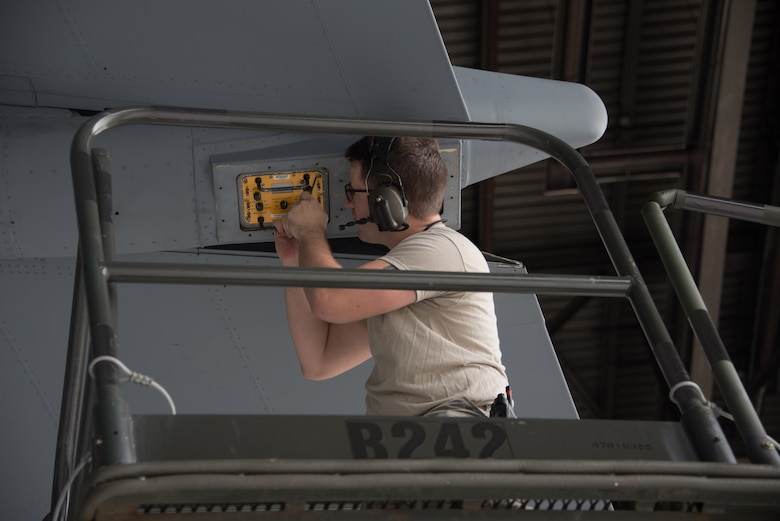 U.S. Air Force Senior Airman Neil Conaway, 60th Aircraft Maintenance Squadron communication and navigation systems specialist, inspects a C-5M Super Galaxy Jan. 28, 2019 at Travis Air Force Base, Calif. Regular maintenance ensures the C-5 is mission ready and the 60th Maintenance Group's Maintenance Operations Center coordinates all maintenance actions at Travis. (U.S. Air Force photo by Tech. Sgt. James Hodgman)