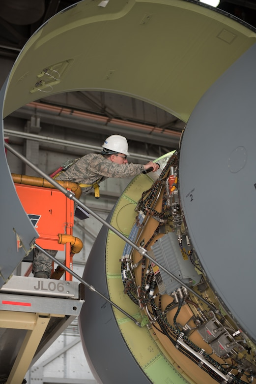 U.S. Air Force Senior Airman Matthew Malich, 60th Aircraft Maintenance Squadron aerospace propulsion journeyman, inspects a C-5M Super Galaxy Jan. 28, 2019 at Travis Air Force Base, Calif. Regular maintenance ensures the C-5 is mission ready and the 60th Maintenance Group's Maintenance Operations Center coordinates all aircraft maintenance actions at Travis. (U.S. Air Force photo by Tech. Sgt. James Hodgman)
