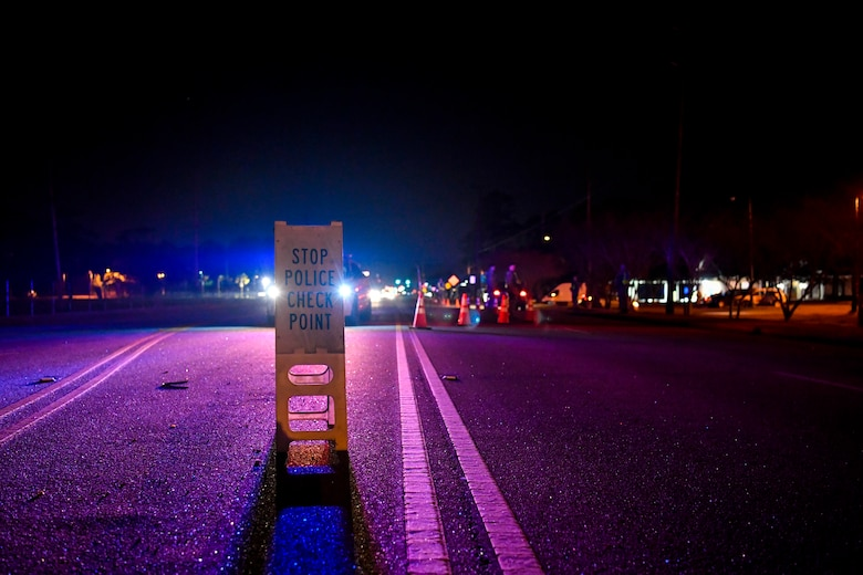 Members of the 628th Security Forces Squadron set up a DUI checkpoint Feb. 3, 2019, at Joint Base Charleston, S.C.