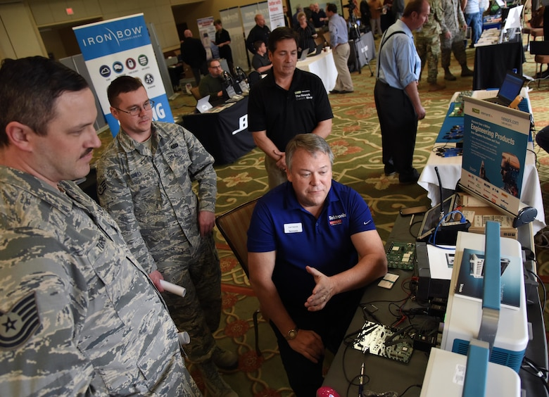 Carl Hancik, Tektronix mainstream sales manager, provides an equipment brief to Keesler personnel during the Annual Keesler Air Force Base Tech Expo inside the Bay Breeze Event Center at Keesler Air Force Base, Mississippi, Feb. 5, 2019. The expo was hosted by the 81st Communications Squadron and was free to all Defense Department, government and contractor personnel with base access. U.S. Air Force Maj. Jon Drummond, 81st CS commander, said events like this allows us to see the local vendors' newest technologies and find opportunities to branch that technology with Keesler's training mission. The event was held to introduce military members to the latest in technological advancements to bolster the Air Force's capabilities in national defense. (U.S. Air Force photo by Kemberly Groue)