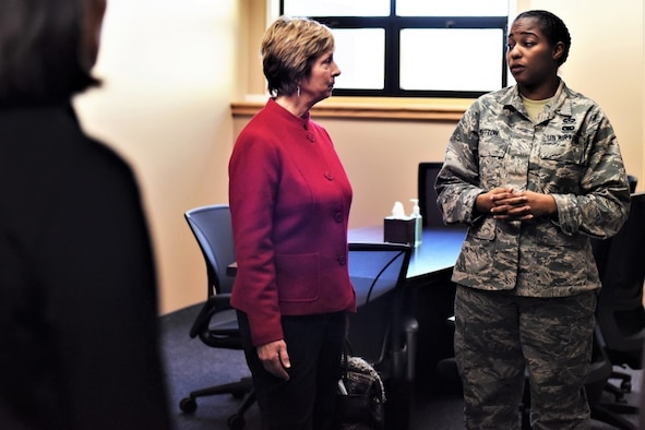 Laura Hyten speaks with former U.S. Air Force Staff Sgt. Jasmine Sutton, 341st Missile Wing special victims counsel paralegal, at the Malmstrom Air Force Base resiliency center in Montana, Jan. 17, 2018. Mrs. Hyten is married to U.S. Air Force Gen. John Hyten (not pictured), commander of U.S. Strategic Command (USSTRATCOM). While there, Gen. and Mrs. Hyten met with base leaders and Airmen to thank them for their support to USSTRATCOM's mission.  (U.S. Air Force photo by Kiersten McCutchan)