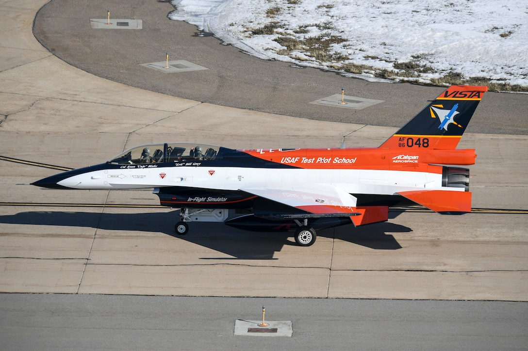 After recently receiving a new look and modifications at the Ogden Air Logistics Complex, the NF-16D known as VISTA (Variable stability In-flight Test Aircraft), departs Hill Air Force Base, Utah, Jan. 30, 2019.  The aircraft is the only one of its kind in the world and is the flag-ship of the U.S. Air Force Test Pilot School. It's has been highly modified, allowing pilots to change the aircraft's flight characteristics and stability to mimic that of other aircraft. (U.S. Air Force photo by Cynthia Griggs)