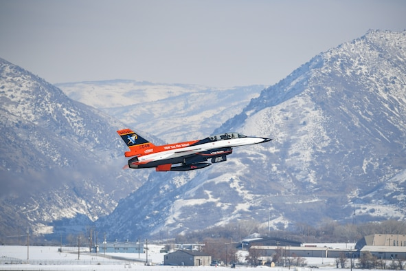 190130-F-EF974-2103- After recently receiving a new look and modifications at the Ogden Air Logistics Complex, the NF-16D known as VISTA (Variable stability In-flight Test Aircraft), departs Hill Air Force Base, Utah, Jan. 30, 2019.  The aircraft is the only one of its kind in the world and is the flag-ship of the U.S. Air Force Test Pilot School. It's highly modified, allowing pilots to change the aircraft's flight characteristics and stability to mimic that of other aircraft.  (U.S. Air Force photo by Cynthia Griggs)