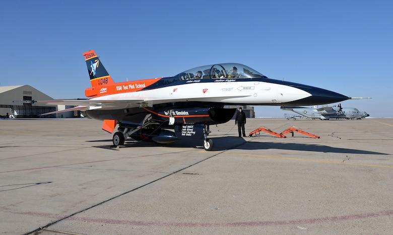 After recently receiving a new look and modifications at the Ogden Air Logistics Complex, the NF-16D known as VISTA (Variable stability In-flight Test Aircraft), prepares to depart Hill Air Force Base, Utah, Jan 30, 2019.  This aircraft is the only one of its kind in the world and is the flag-ship of the United States Air Force Test Pilot School. This F-16 has been highly modified, allowing pilots to change the aircraft flight characteristics and stability to mimic that of other aircraft.  (U.S. Air Force photo by Alex R. Lloyd)