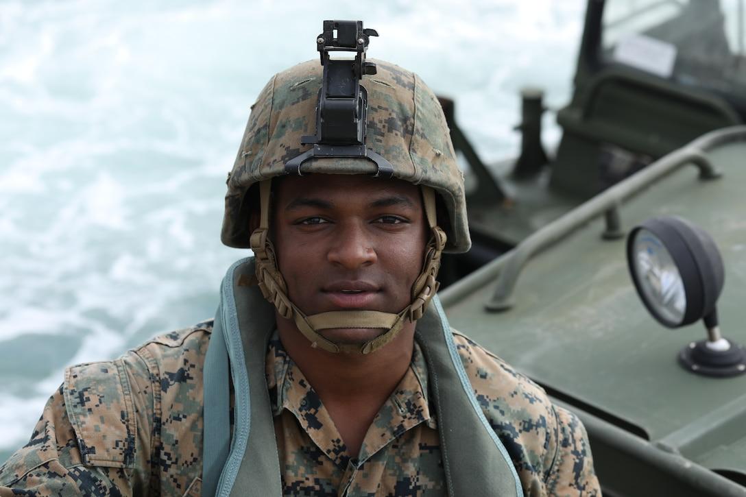 Cpl. Malon Johnson is a combat engineer with Improved Ribbon Bridge Platoon, Bridge Company, 9th Engineer Support Battalion, 3rd Marine Logistics Group.