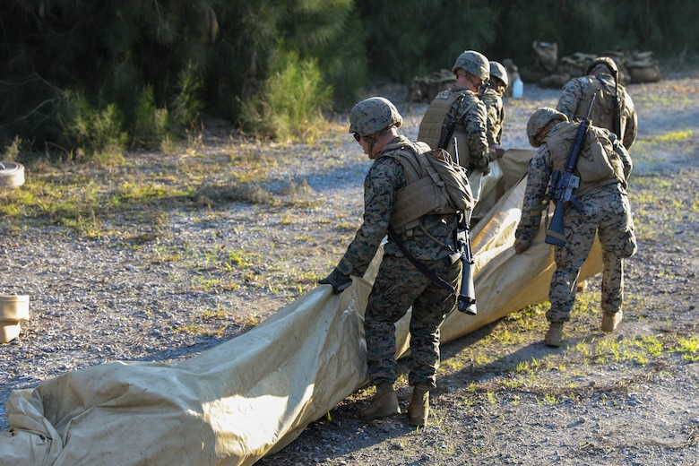Marines with 2nd Platoon, Bulk Fuel Company, 9th Engineer Support Battalion, 3rd Marine Logistics Group, pull a tarp on Jan. 28, 2019 at Central Training Area, Camp Hansen, Okinawa, Japan. The bulk fuel specialists assembled several fuel sites across the CTA to enhance their training and readiness within a harsh environment. The Marines set up and maintained their bulk fuel equipment for a week-long training evolution. (U.S. Marine Corps photo by Lance Cpl. Armando Elizalde)