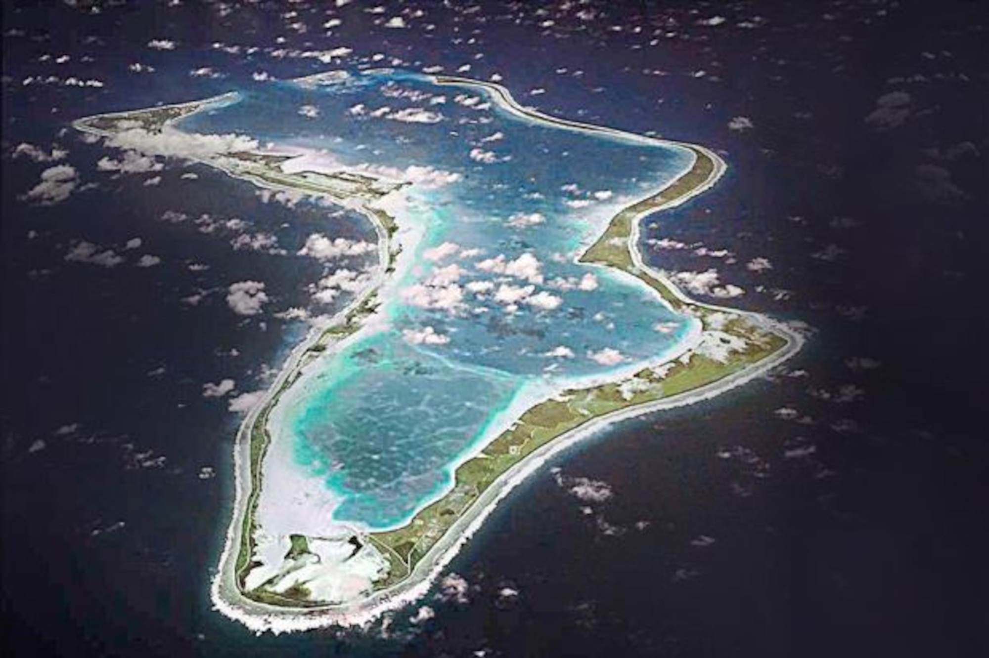 Diego Garcia is one of the largest of 60 small islands making up the Chagoa Archipelago. Airmen from U.S. Air Force Det. 1, 36th Mission Support Group, have the important mission of maintaining a forward operating location there, approximately 3,000 miles west of Guam (Courtesy photo).
