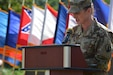 Brig. Gen. Dustin Shultz, commander of the 1st Mission Support Command, gives remarks at the 1st MSC transformation integration ceremony at Fort Buchanan, Puerto Rico, on Dec. 9, 2018, where units transitioned to the 1st MSC footprint. The 1st Battalion, 333rd Regiment (Multifunctional Training), formerly the 5th Battalion of 94th Training Division-Force Sustainment, was among several units assigned under the 1st MSC's infrastructure.