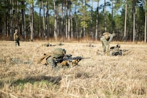 U.S. Marines with 1st Battalion, 6th Marine Regiment, 2nd Marine Division, execute fire and maneuver drills at Range F-18 during a Field Exercise on Camp Lejeune N.C., Jan. 29, 2019. This two week-long exercise promotes proficiency and operational readiness for potential combat operations. (U.S. Marine Corps photo by Cpl. Angel D. Travis)